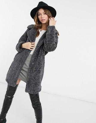 New Look longline faux fur teddy coat in dark grey