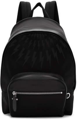 Neil Barrett Black Fair Isle Thunderbolt Classic Backpack