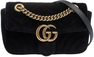 Gucci Black Matelasse Velvet Mini GG Marmont Shoulder Bag