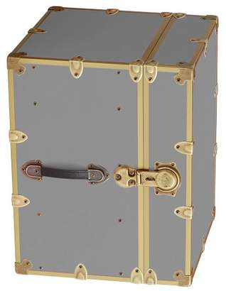 Pottery Barn Teen Canvas Dorm Trunk with Rubbed Brass Trim, Bedside, Silver