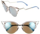 Fendi Women's Crystal 52Mm Tipped Cat Eye Sunglasses - Transluscent Dove Grey