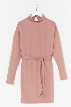 Nasty Gal Womens We Belt It High Neck Sweater Dress - Rose