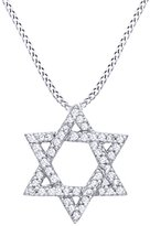 AFFY Natural Diamond Star of David Pendant Necklace in 10k Gold ( 0.14 cttw)