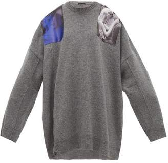 Raf Simons Shoulder-patch Wool Sweater - Womens - Grey