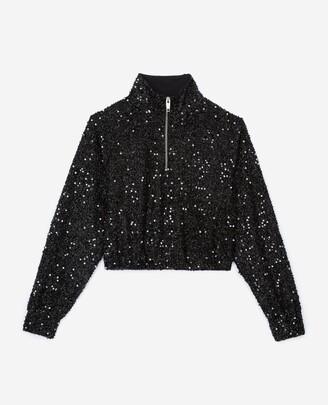 The Kooples Black roll-neck sweatshirt with sequins