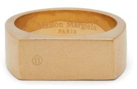 Maison Margiela Brushed-sterling Silver Signet Ring - Mens - Gold