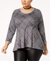 Melissa McCarthy Trendy Plus Size Plaid Peplum Top