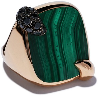Pomellato 18kt rose gold Ritratto malachite and black diamond ring