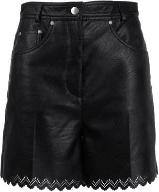 Stella McCartney Leather-Effect Scalloped Shorts
