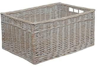 Camilla And Marc Red Hamper White Wash Storage Open Basket, Wicker, Brown, 19 x 37 x 24 cm