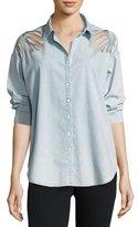 3x1 Freja Floral-Cutout Denim Shirt, Ella