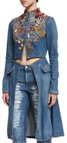 Alexander McQueen Embroidered Cutaway Denim Coat, Medium Vintage Wash