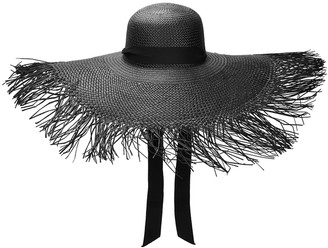Sensi Black frayed wide-brim straw hat