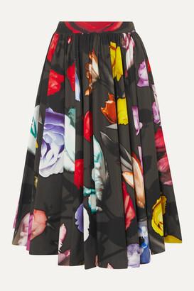 Prada Pleated Floral-print Cotton Midi Skirt - Black