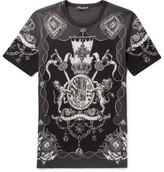 Dolce & Gabbana Slim-fit Printed Cotton-jersey T-shirt - Black