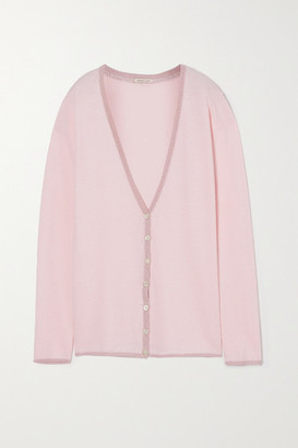 Morgan Lane Pippa Lurex-trimmed Knitted Cardigan - Pastel pink