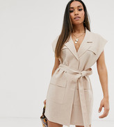 Asos DESIGN Petite sleeveless utility mini dress with belt in linen