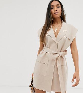 Asos DESIGN Petite sleeveless utility mini dress with belt in linen-Beige