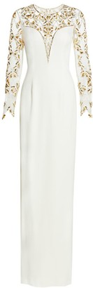 Pamella Roland Stretch Crepe Beaded Sleeve Gown