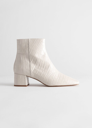 And other stories Croc Embossed Leather Square Toe Boots