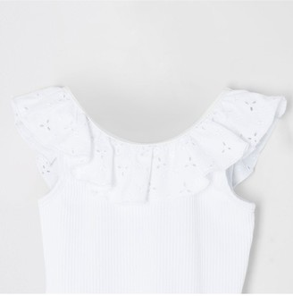 River Island Mini Girls Broderie Frill Swimsuit-White