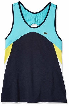 Lacoste Women's Sport Colorblock Tennis Tank Top Haiti Lemon-White-Navy Blue 2