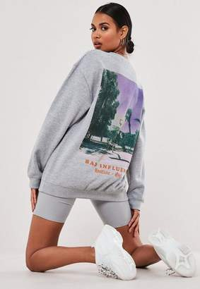 Missguided Gray Bad Influence Graphic Back Sweatshirt