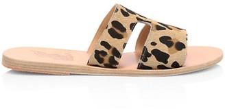 Ancient Greek Sandals Apteros Flat Leopard-Print Calf Hair Sandals