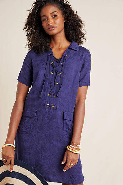 Anthropologie Finley Lace-Up Shirtdress