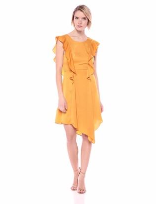 BCBGeneration Women's Ruffled Asymmetrical Satin Dress