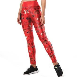 Vimoli Womens Leggings Ladies Print Sports Running Pants Stretch Trousers Pants Athletic Pencil Pants(Red M)