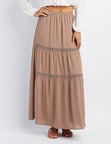 Charlotte Russe Crochet-Inset Maxi Skirt