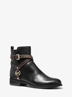 Michael Kors Preston Leather and Logo Ankle Boot