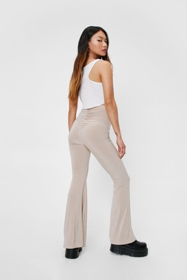 Nasty Gal Womens Petite High Waisted Ruched Flared trousers - Beige - 4, Beige