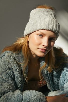Urban Outfitters Cable Knit Fur Pompom Beanie