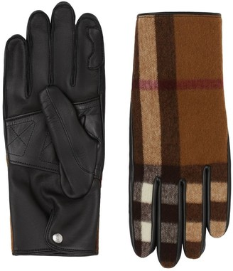 Burberry Cashmere-lined Check Wool And Lambskin Gloves