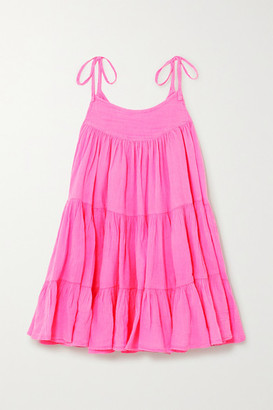 HONORINE Peri Tiered Neon Crinkled Cotton-gauze Mini Dress - Pink