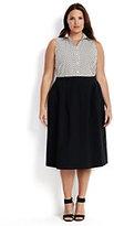 Classic Women's Plus Size Woven Stretch Midi Skirt-Black