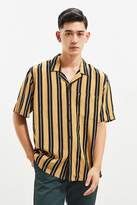 Urban Outfitters Vertical Stripe Rayon Short Sleeve Button-Down Shirt
