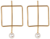 Stephan & Co Square Bar Simulated Pearl Earrings