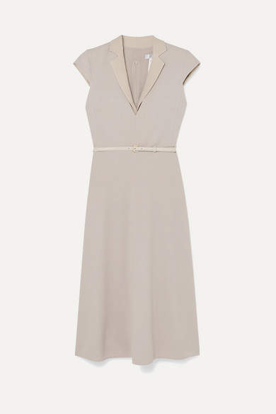 Max Mara Belted Silk And Leather-trimmed Stretch-wool Midi Dress - Beige