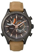 Timex 'Intelligent Quartz' Leather Strap Watch, 46mm