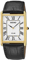 Seiko Men's Rectangular Goldtone Black LeatherStrap Watch