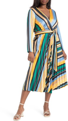 ELOQUII Sunburst Stripe Pleated Long Sleeve Midi Dress