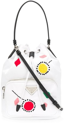 Prada Embroidered Details Bucket Bag