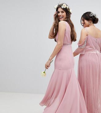 TFNC Maxi Bridesmaid Dress With High Low Hem