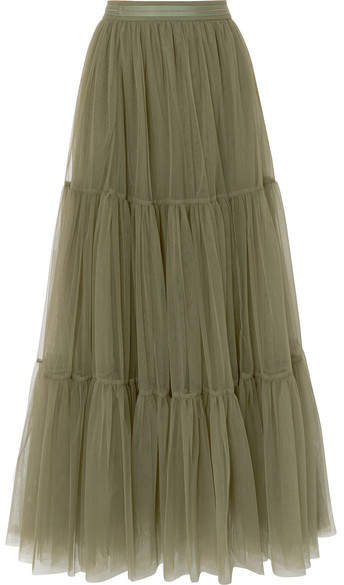Brunello Cucinelli Tiered Bead-embellished Tulle Skirt - Green