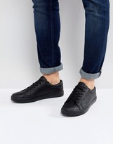 Jack and Jones Sable Faux Leather Sneakers In Black
