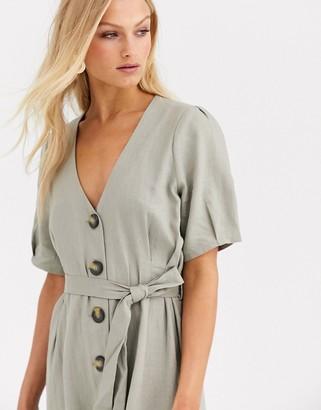 Soaked In Luxury button thru linen dress-Stone