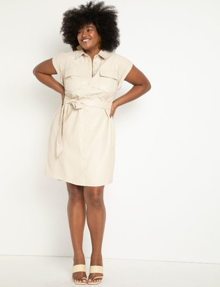 ELOQUII Relaxed Faux Leather Shirtdress